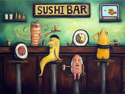 The Sushi Bar Poster by Leah Saulnier The Painting Maniac