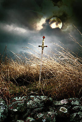 Sword Under A Full Moon Poster