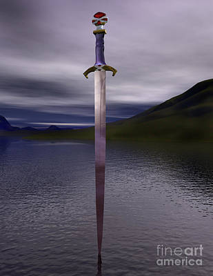 The Sword Excalibur On The Lake Poster by Nicholas Burningham