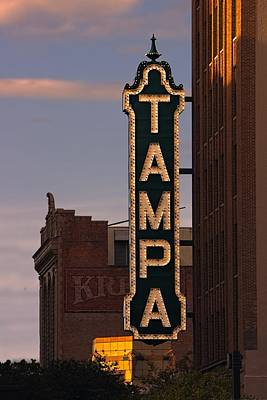 The Tampa Theatre Sign - In Lights  Poster by Chrystyne Novack