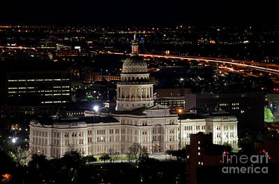 The Texas State Capitol At Night As Rush Hour Traffic Lights Str Poster by Herronstock Prints