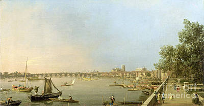 The Thames From The Terrace Of Somerset House Poster by Giovanni Antonio Canaletto