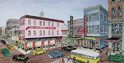 The Theater District Portsmouth Ohio 1948 Poster by Frank Hunter