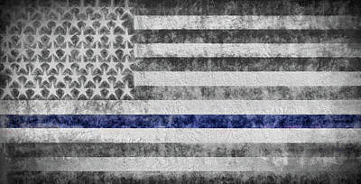 Poster featuring the digital art The Thin Blue Line American Flag by JC Findley