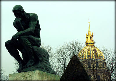 The Thinker And The Chapel Of Saint Louis Des Invalides Poster by Susie Weaver