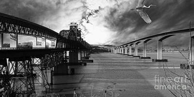 The Three Benicia-martinez Bridges . A Journey Through Time . Black And White Poster