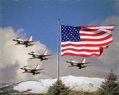 The Thunderbirds - Red - White And Blue Poster by Donna Kennedy