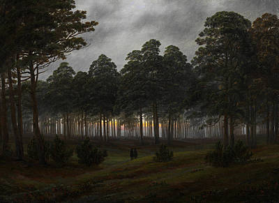 The Times Of Day - The Evening Poster by Caspar David Friedrich