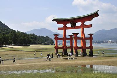 The Torii At Low Tide At Itsukushima Shrine Miyajima Japan  Poster by Andy Smy