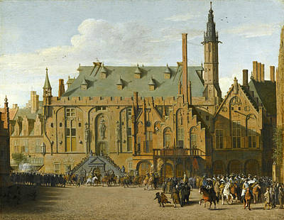 The Town Hall At Haarlem With The Entry Of Prince Maurits To Replace The Governers In 1618 Poster by Pieter Jansz Saenredam