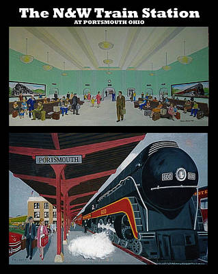 The Train Station At Portsmouth Ohio Poster by Frank Hunter