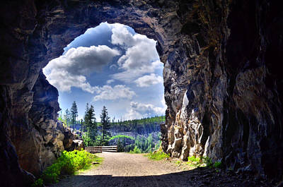 Through The Tunnel At Myra Canyon Poster