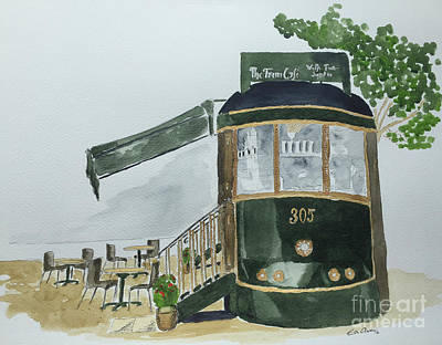Poster featuring the painting The Tram Cafe by Eva Ason