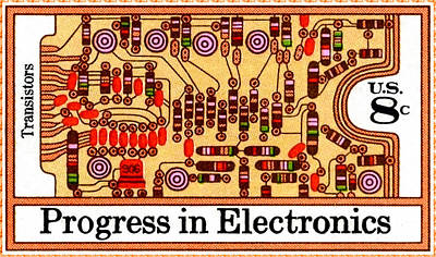 The Transistors And Circuit Board Stamp Poster