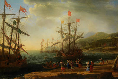 Poster featuring the painting The Trojan Women Setting Fire To The Fleet by Claude Lorrain
