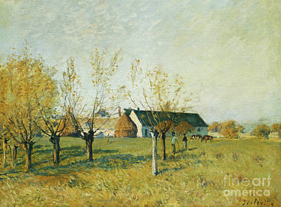 The Trou D'enfer Farm, Autumn Morning Poster by Alfred Sisley