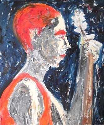 Poster featuring the painting The Turkish Baglama Player by Esther Newman-Cohen