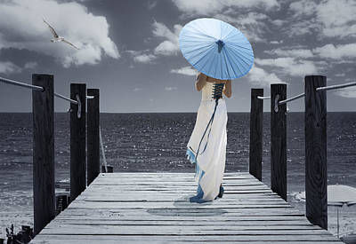 The Turquoise Parasol Poster by Amanda Elwell