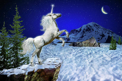 Poster featuring the digital art The Ultimate Return Of Unicorn  by William Lee