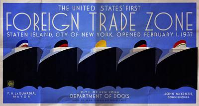The United States' First Foreign Trade Zone - Vintage Poster Folded Poster by Vintage Advertising Posters