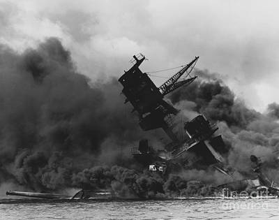 The Uss Arizona Bb-39 Burning After The Japanese Attack On Pearl Harbor Poster