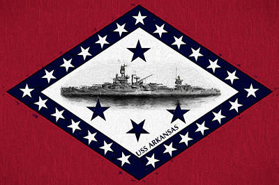 Poster featuring the digital art The Uss Arkansas by JC Findley