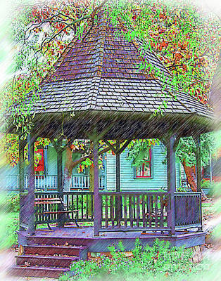 The Victorian Gazebo Sketched Poster by Kirt Tisdale