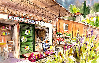 The Village Cafe In Deia Poster by Miki De Goodaboom
