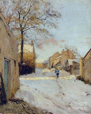 The Village Street In Winter Poster