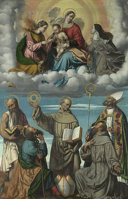 The Virgin And Child With Saint Bernardino And Other Saints Poster by Moretto da Brescia