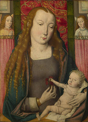 The Virgin And Child With Two Angels Poster by Follower of the Master of the Saint Ursula Legend Bruges