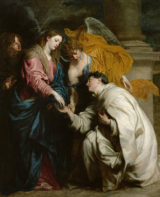 The Vision Of The Blessed Hermann Joseph Poster by Anthony van Dyck