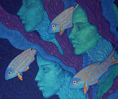 The Waiting Underwater Fantasy Acrylic Painting Surreal Art Poster by Julia Khoroshikh