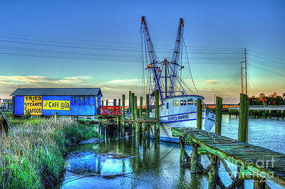Poster featuring the photograph The Waiting Shrimper Tybee Island Dawn Art by Reid Callaway