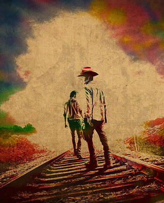 The Walking Dead Watercolor Portrait On Worn Distressed Canvas No 3 Poster by Design Turnpike