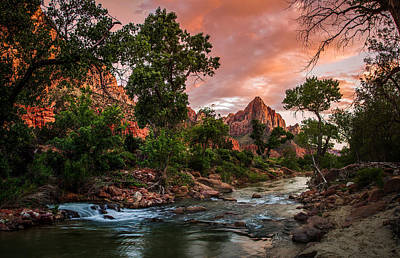 The Watchman Sunset Zion National Park Poster by Scott McGuire
