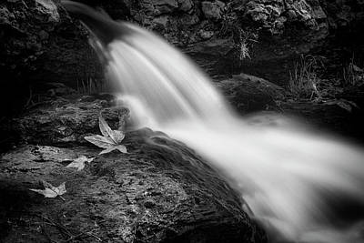 Poster featuring the photograph The Waterfall In Black And White  by Saija Lehtonen