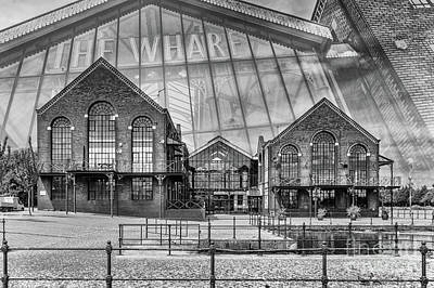 The Wharf Cardiff Bay Mono Poster by Steve Purnell