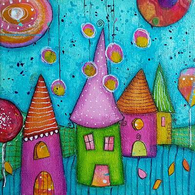 The Whimsical Village - 3 Poster by Barbara Orenya