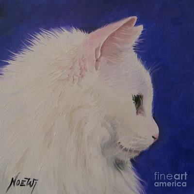 Poster featuring the painting The White Cat by Jindra Noewi