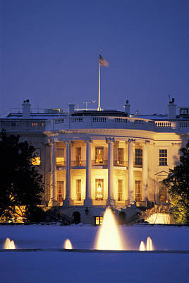 The White House South Portico At Dusk Poster by Richard Nowitz