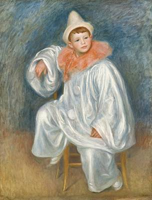 The White Pierrot Poster by Pierre Auguste Renoir