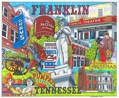 The Who, What And Where Of Franklin, Tennessee Poster by Shawn Doughty