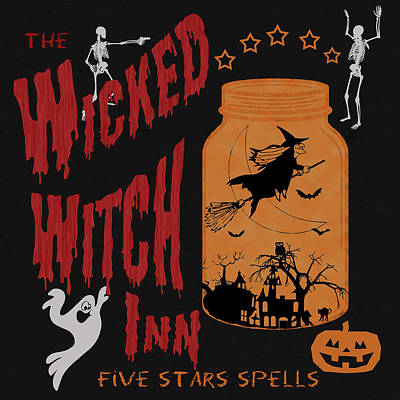 Poster featuring the painting The Wicked Witch Inn by Georgeta Blanaru