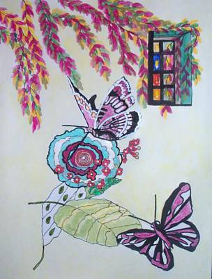 Poster featuring the painting The Window To The Butterfly World by Connie Valasco