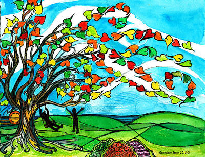 The Windy Tree Poster by Genevieve Esson