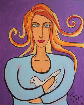The Woman And The Dove Of Peace Poster by Claudia Tuli