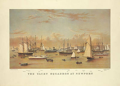 The Yacht Squadron At Newport Poster