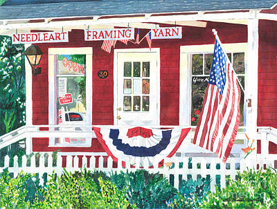 Poster featuring the painting The Yarn Shop by LeAnne Sowa