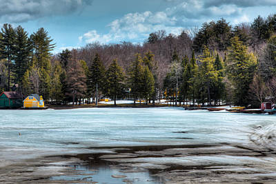 The Yellow Lighthouse On Old Forge Pond Poster by David Patterson